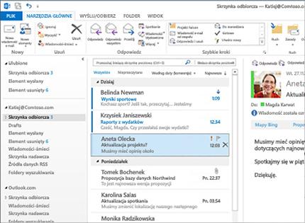 Zrzut ekranu skrzynki odbiorczej programu Microsoft Outlook 2013 z listą wiadomości ipodglądem.