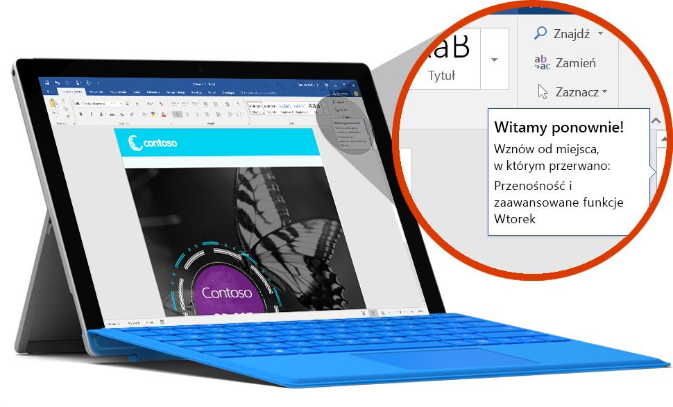 Tablet Surface z wyświetlonym dokumentem pokazującym ostatnią lokalizację w programie Word — informacje o magazynie w chmurze usługi OneDrive