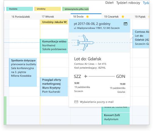 Kalendarz programu Exchange zawierający szczegóły lotu oraz inne terminy i zdarzenia