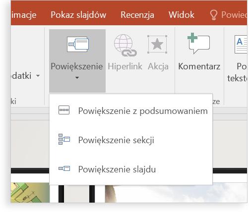 Tablet ze slajdem programu PowerPoint z funkcją powiększenia