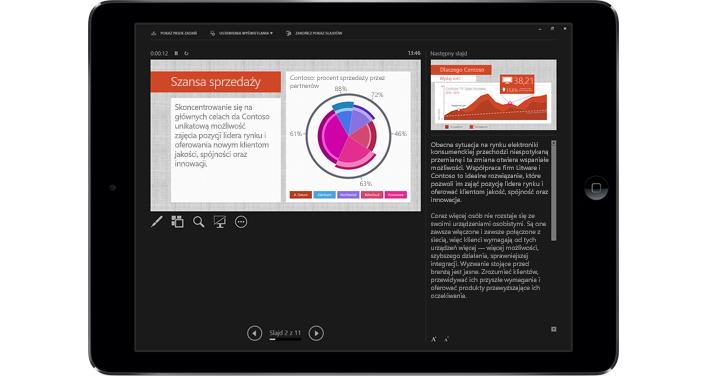Tablet ze slajdem programu PowerPoint w trybie prezentacji z adiustacją.