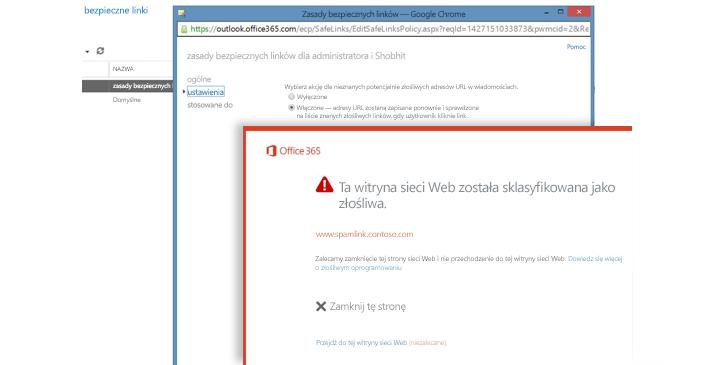Okno zasad bezpiecznych linków i ostrzeżenie dla użytkowników dotyczące bezpiecznych linków.