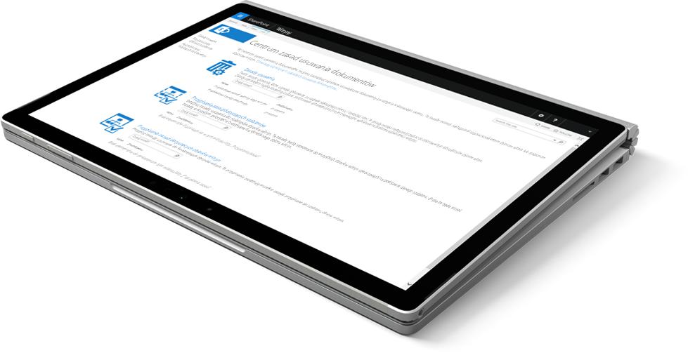 Laptop z wyświetlonym Centrum zasad usuwania dokumentów w programie SharePoint