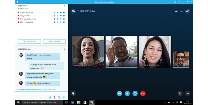 Zrzut ekranu przedstawiający ekran główny programu Skype dla firm z miniaturami kontaktów i opcjami połączenia.