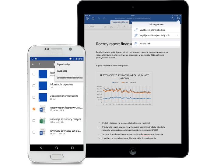 Tablet i smartfon z wyświetlonym menu udostępniania w usłudze OneDrive dla Firm.