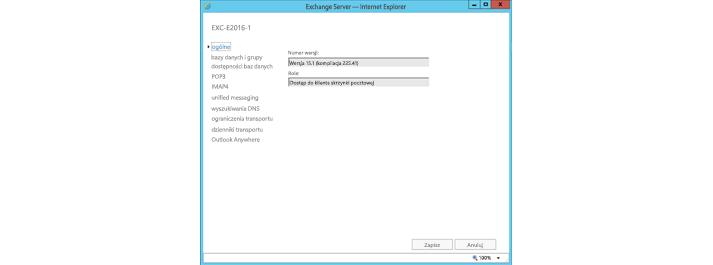 Okno ustawień ogólnych programu Exchange Server w programie Internet Explorer