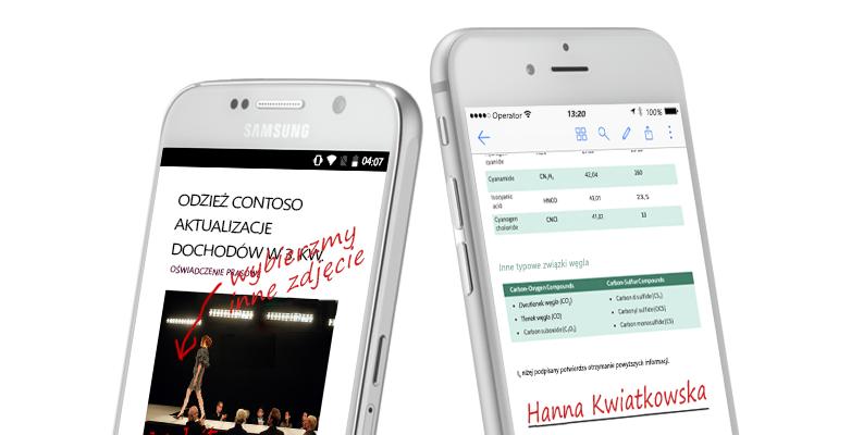 dwa smartfony przedstawiające dokumenty i ręcznie pisane notatki na ich temat