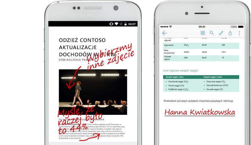 dwa smartfony pokazujące dokumenty i ręcznie pisane notatki na ich temat