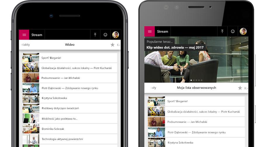 Dwa smartfony — na jednym wyświetlona lista klipów wideo w aplikacji Stream, na drugim menu Obserwowane w aplikacji Stream
