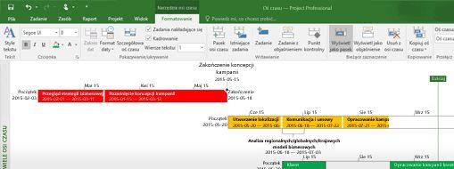 Zrzut ekranu przedstawiający otwarty plik projektu w programie Project Professional