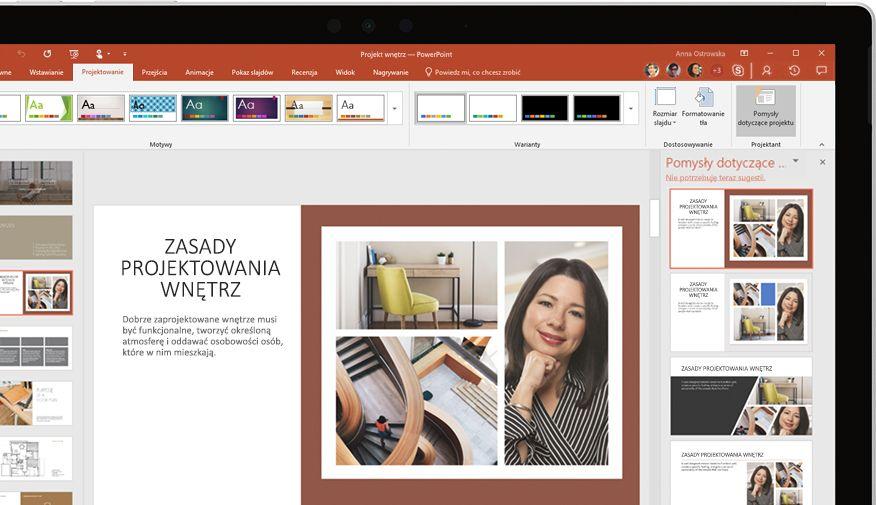 Urządzenie z wyświetloną prezentacją programu PowerPoint
