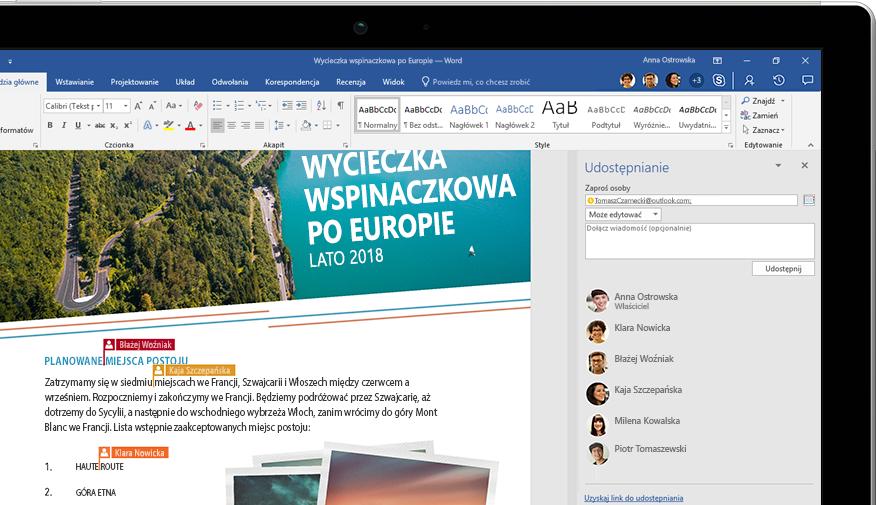 Laptop z wyświetloną funkcją Udostępnij programu Word