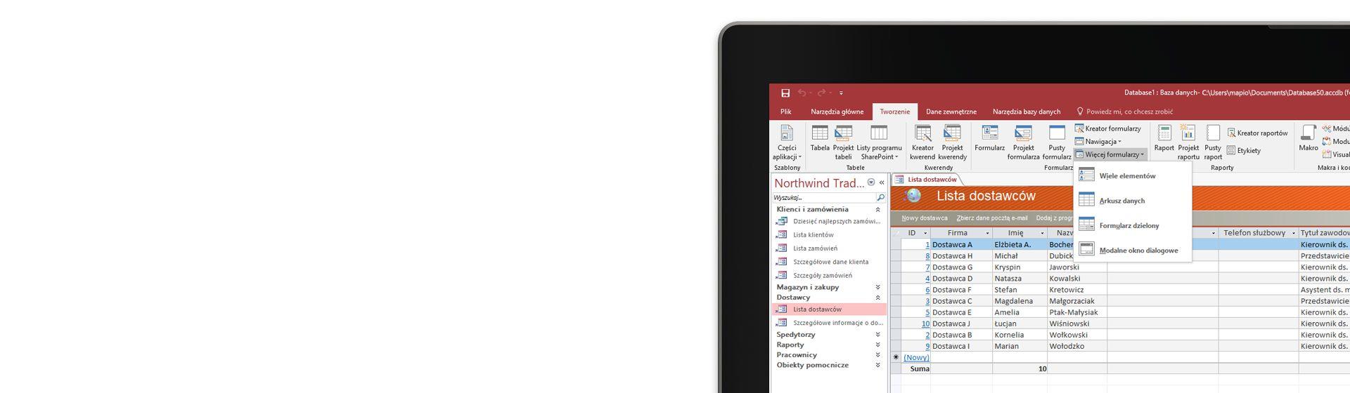 Fragment ekranu komputera z wyświetloną listą dostawców w bazie danych programu Microsoft Access.