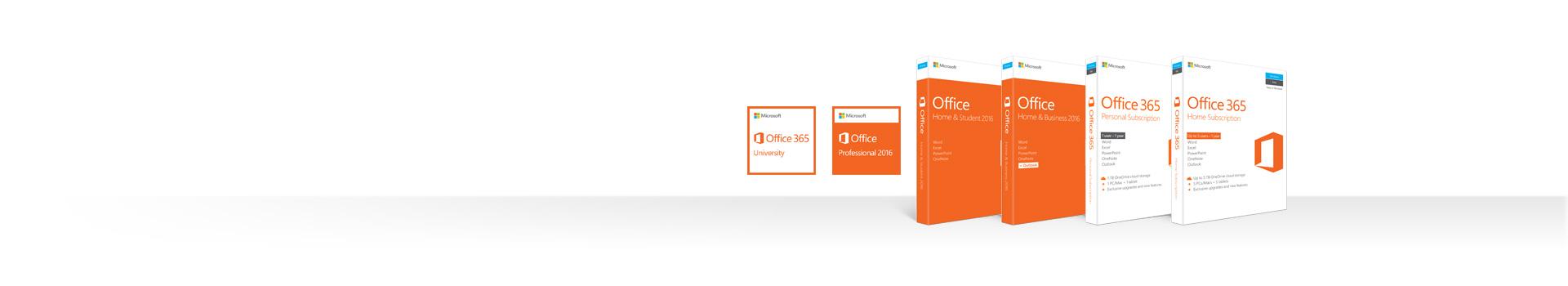 Rząd opakowań produktów Office 2016 i usługi Office 365 dla komputerów PC