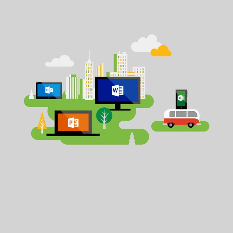 Pełne wersje aplikacji na różne urządzenia wusłudze Office 365 Business.