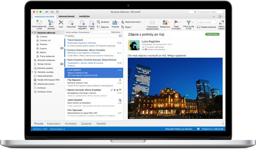 Ekran komputera MacBook z widoczną skrzynką odbiorczą w nowym programie Outlook dla komputerów Mac.