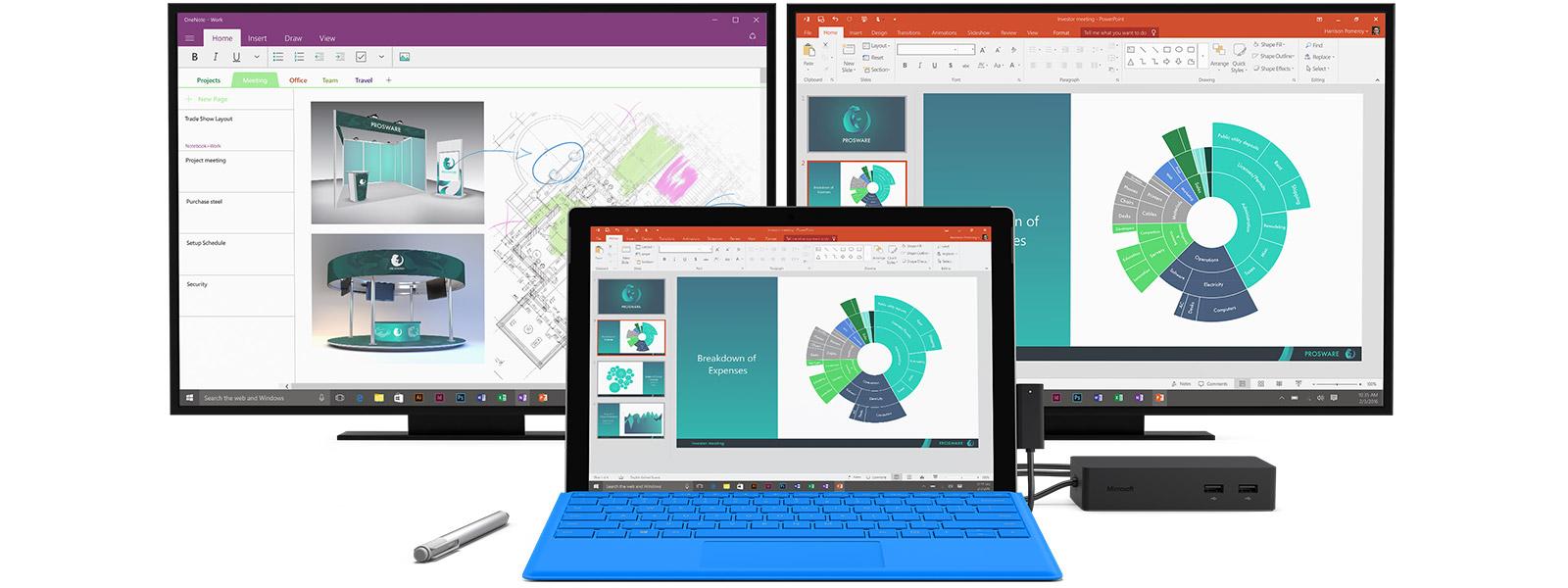 Dwa ogólne monitory komputerowe, Surface Pro 4, pióro Surface Pen i stacja dokująca Surface Dock