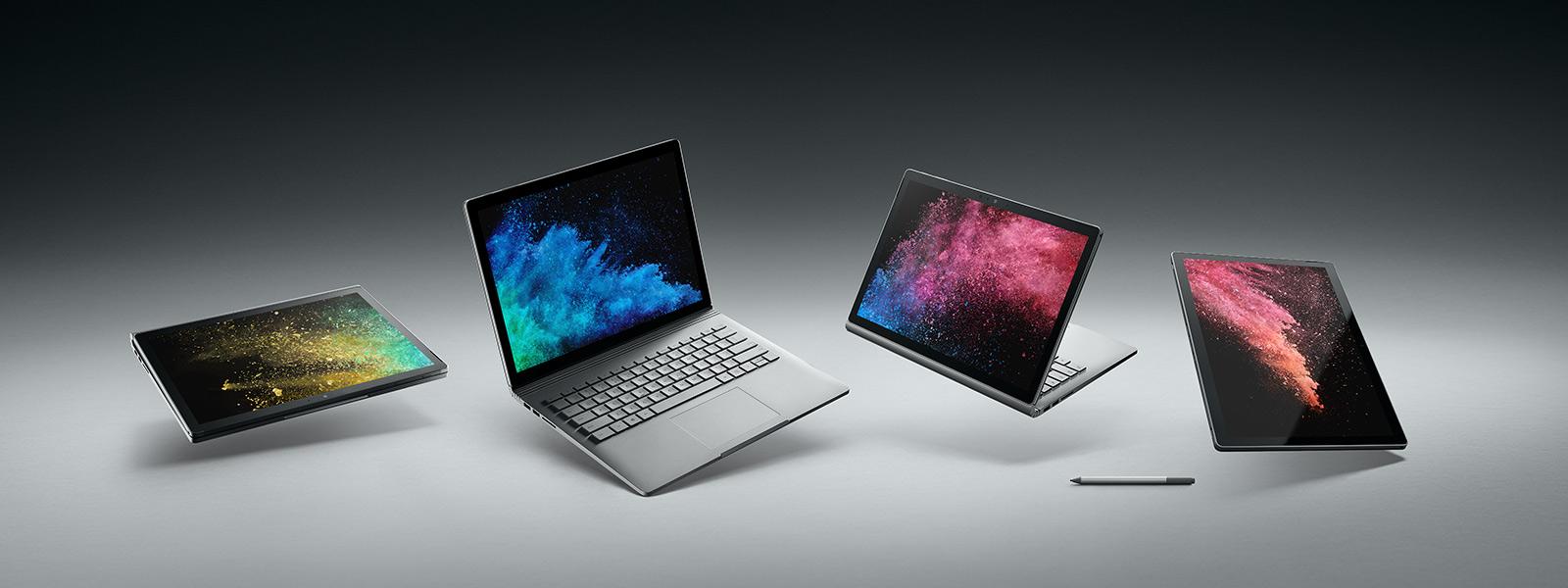 Urządzenie Surface Book 2 przedstawione w różnych trybach, obok pióro Surface.