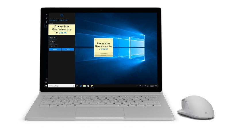 Zrzut ekranu programu Cortana na urządzeniu Surface.
