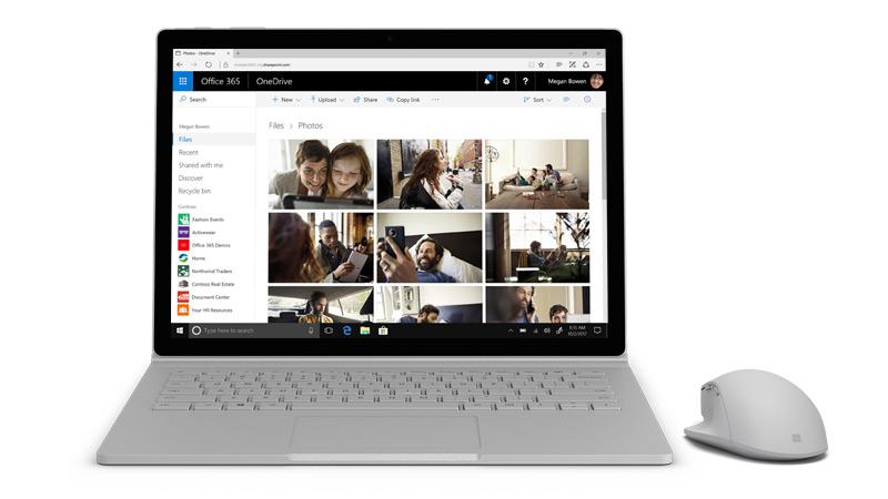 Zrzut ekranu programu OneDrive na urządzeniu Surface.
