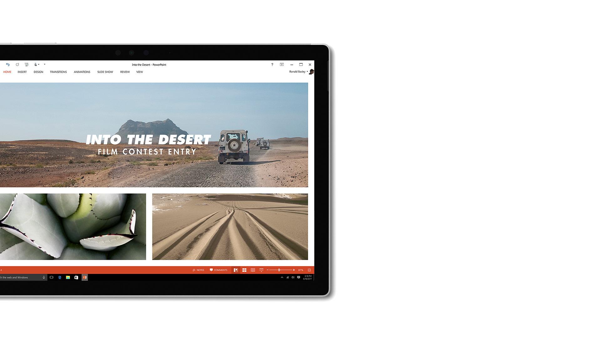Zrzut ekranu aplikacji PowerPoint na urządzeniu Surface.