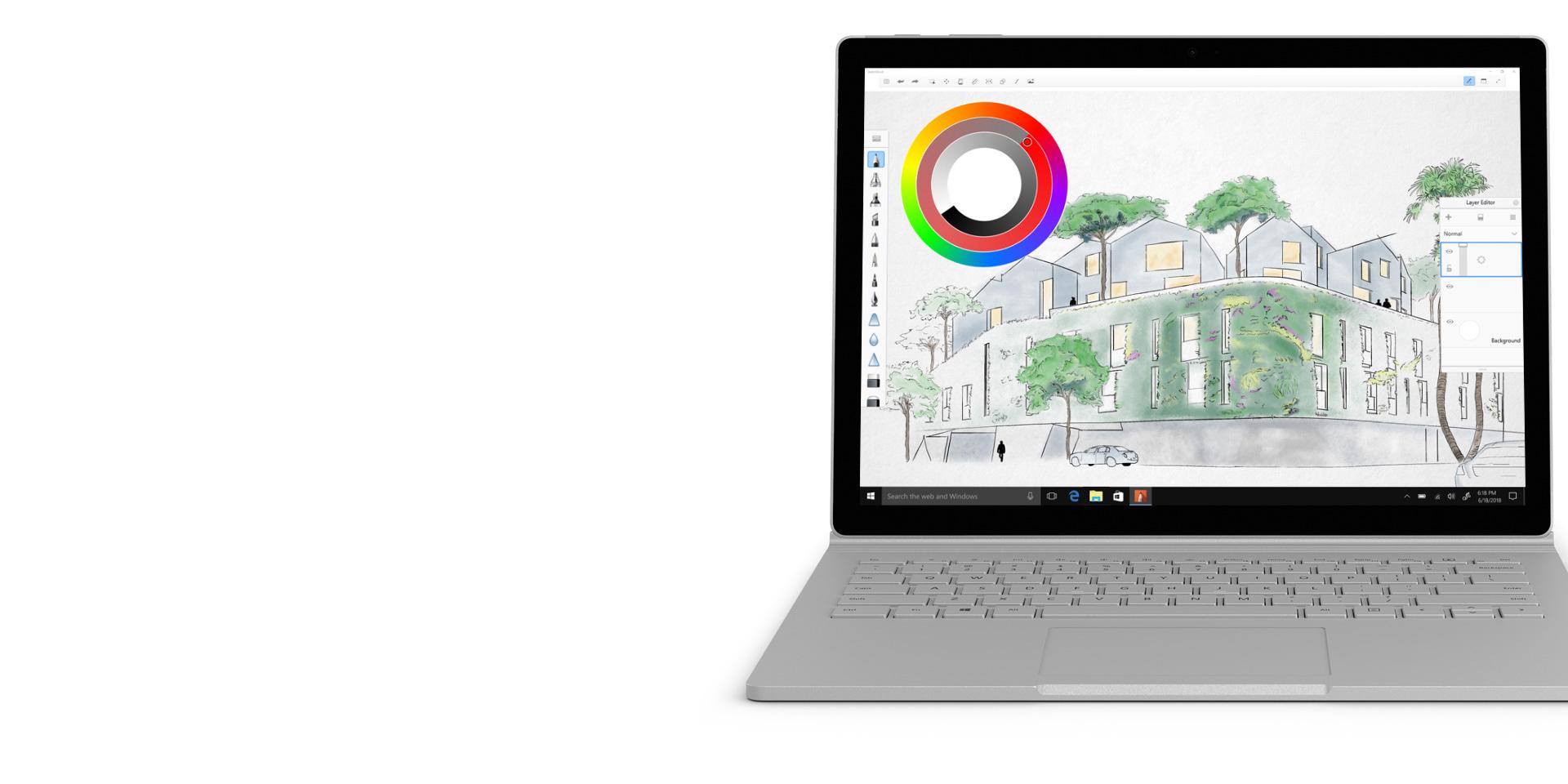 Autodesk SketchBook na wyświetlaczu urządzenia Surface Book 2