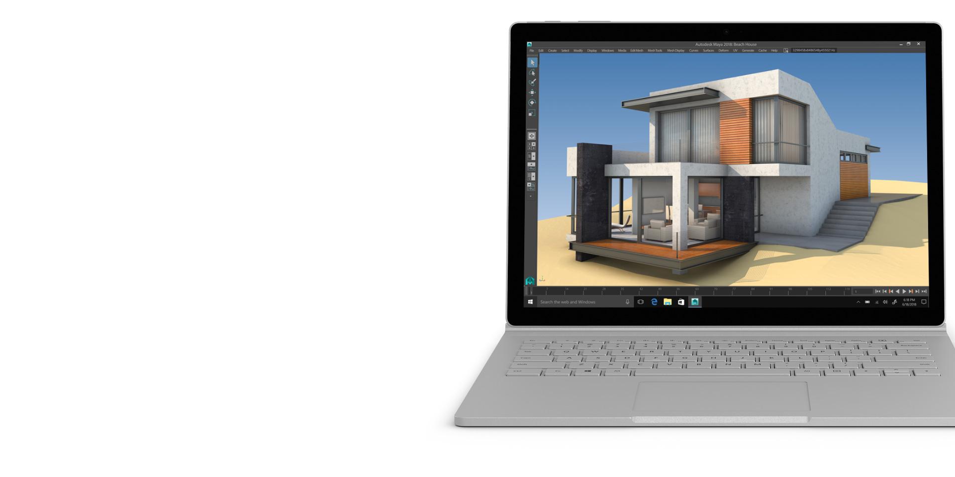 Autodesk Maya na wyświetlaczu urządzenia Surface Book 2