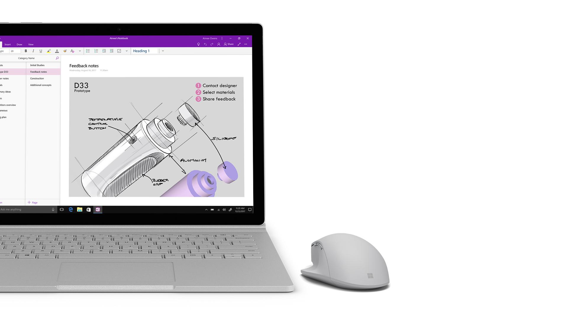 Zrzut ekranu aplikacji OneNote na urządzeniu Surface.