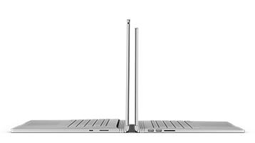 Oba rozmiary urządzenia Surface Book 2 pokazane z profilu.