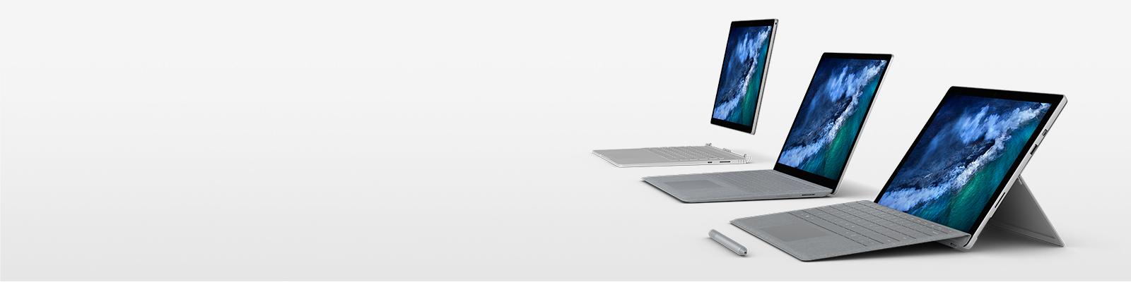 Surface Pro, Surface Laptop oraz Surface Book 2 na zdjęciu z piórem Surface