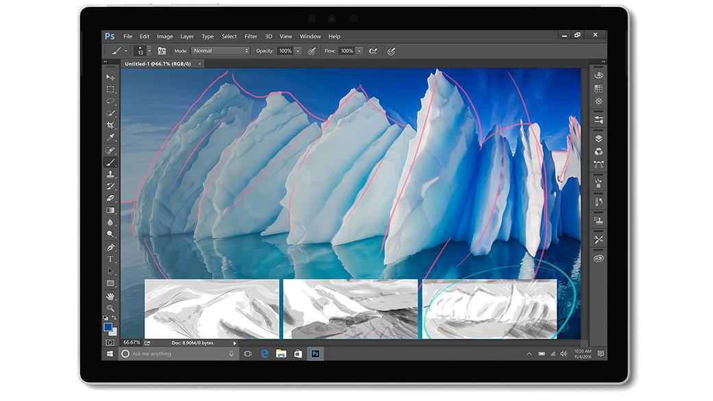Aplikacja Adobe Photoshop CC na ekranie urządzenia Surface