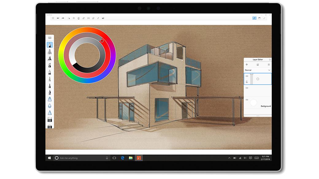 Aplikacja SketchBook na ekranie urządzenia Surface