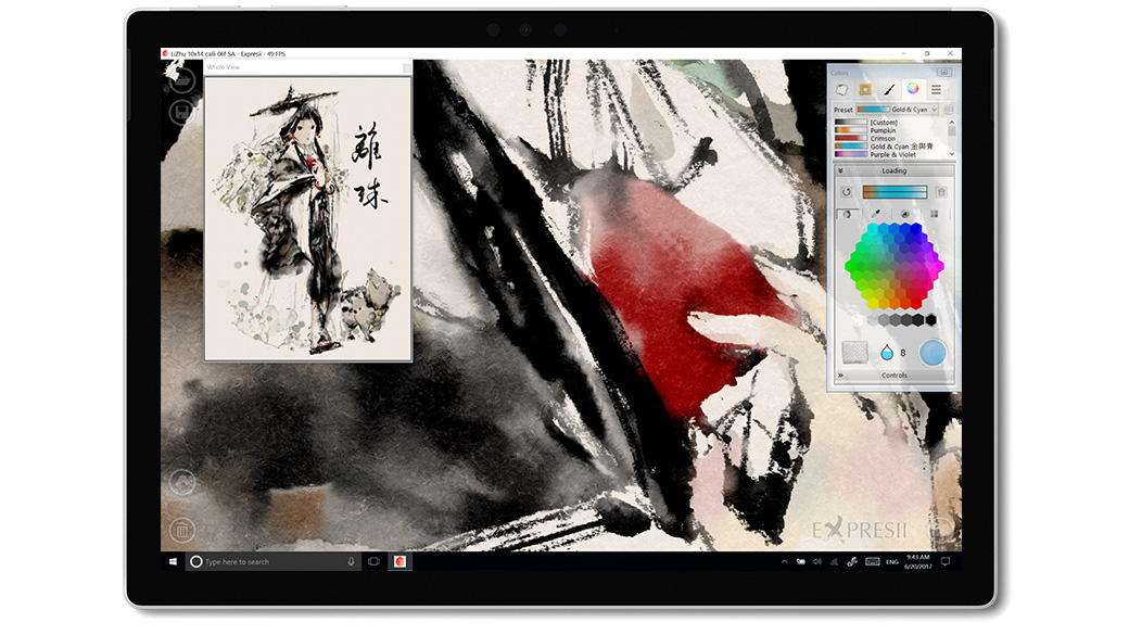 Aplikacja Expresii na ekranie urządzenia Surface
