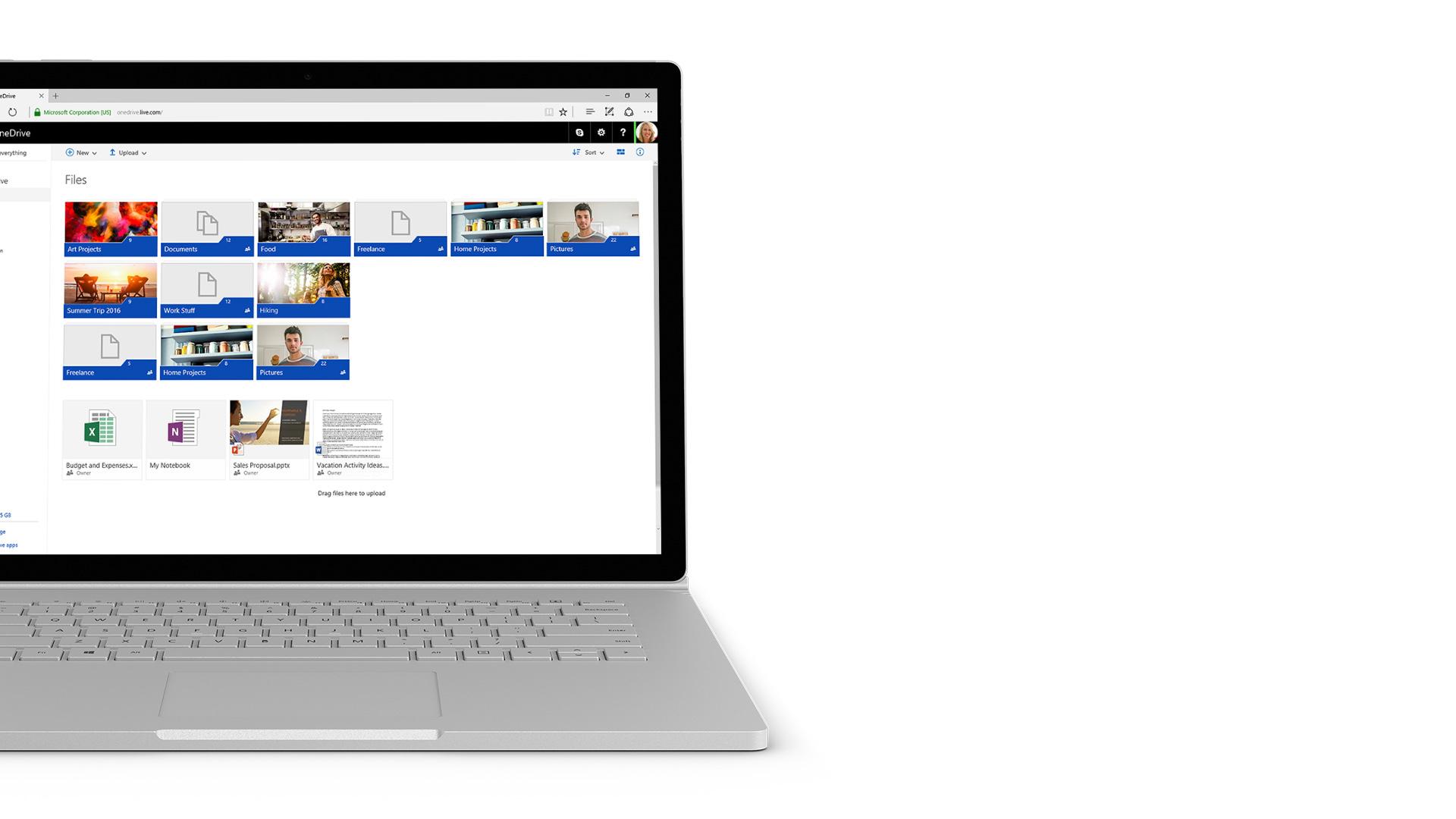 Zrzut ekranu dysku OneDrive na urządzeniu Surface.