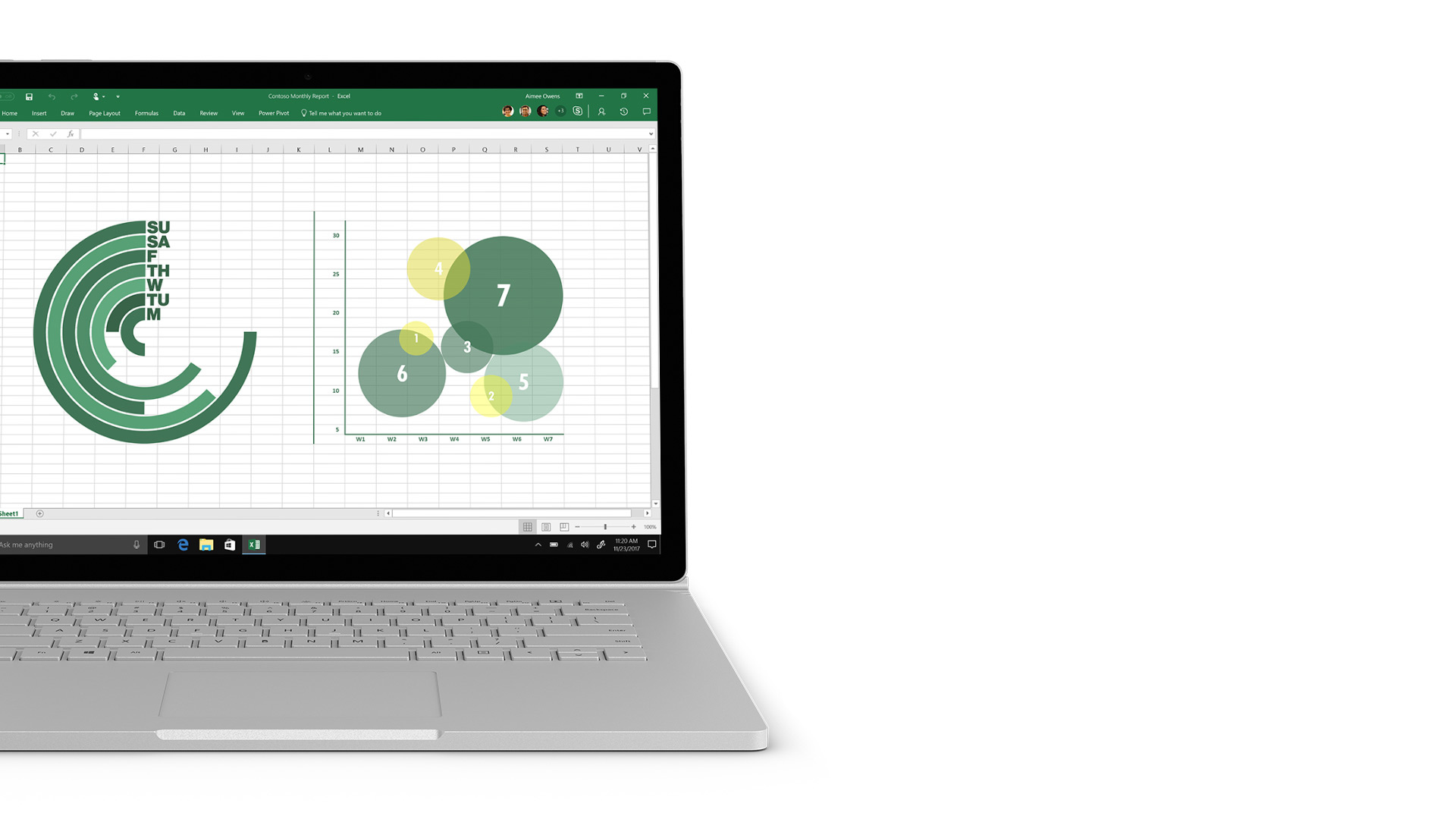 Zrzut ekranu programu Excel na urządzeniu Surface.