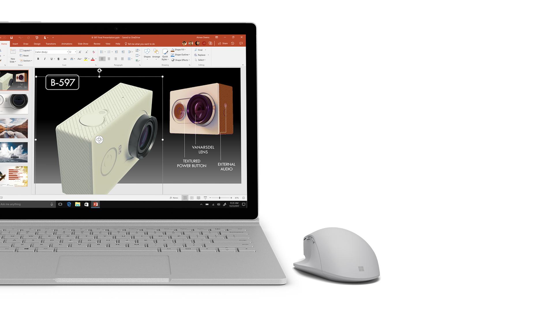 Zrzut ekranu programu PowerPoint na urządzeniu Surface.