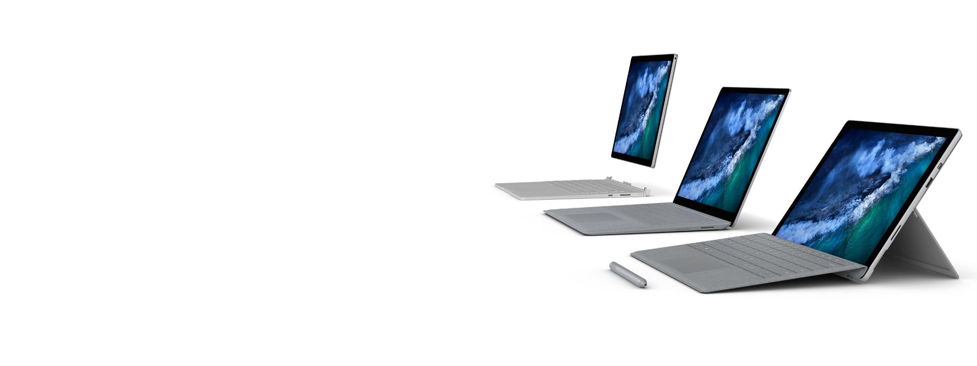 Rodzina urządzeń Surface – Surface Pro, Surface Laptop i Surface Book 2