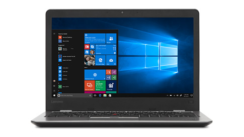 Laptop Lenovo wyświetlający menu startowe systemu Windows 10