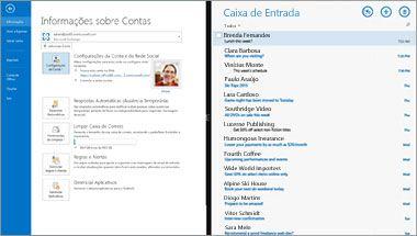 Uma captura de tela da página de informações de Conta e lista de mensagens no Office 365.