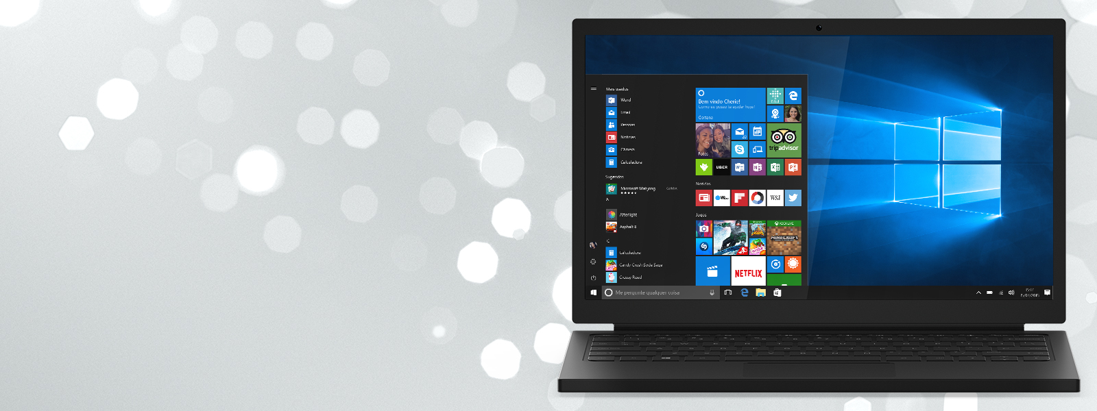 Um laptop com uma tela Iniciar do Windows