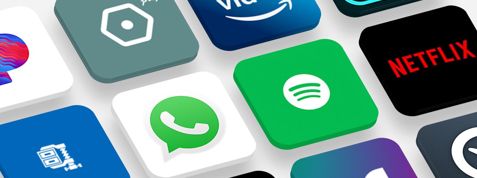 Diversos logotipos de aplicativos populares