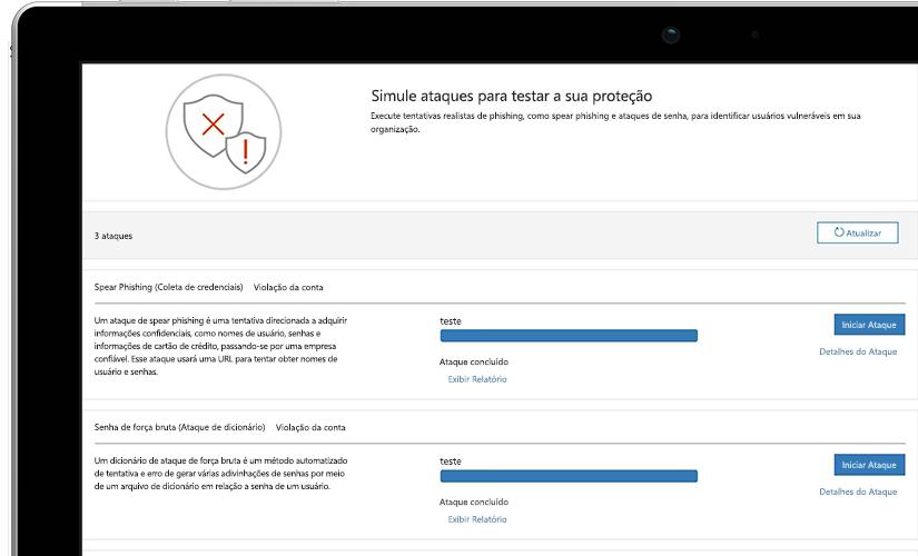 Fotografia de perto de uma página de simulação de ataque em um laptop exibindo informações do teste em andamento