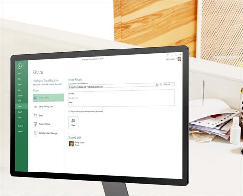 Um monitor de computador que mostra as opções de compartilhamento das planilhas do Excel.