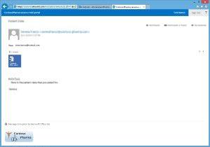 Uma mensagem de email criptografada com a Criptografia de Mensagem do Office 365.