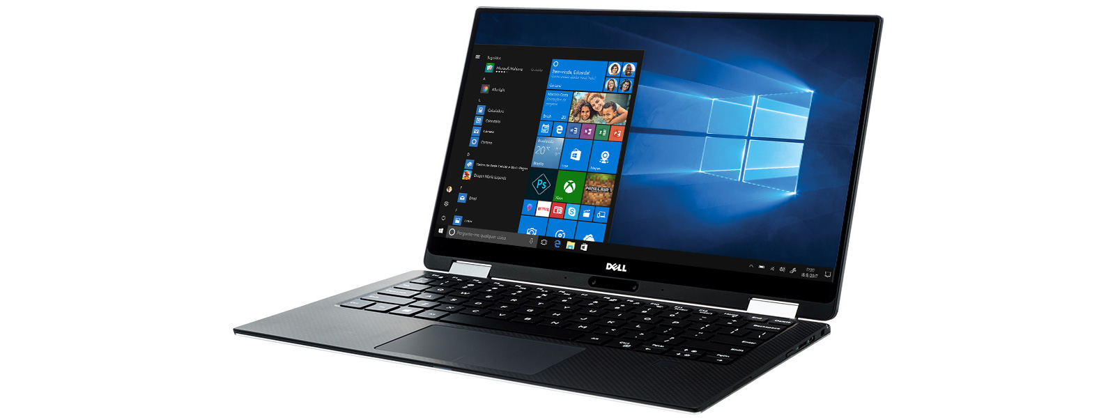 Um Dell XPS 13 mostrando uma tela inicial do Windows 10.