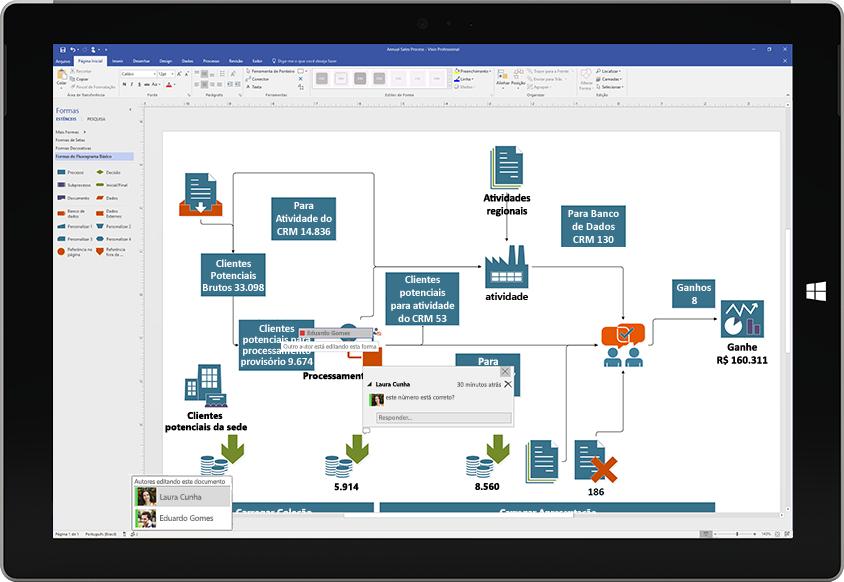 Um tablet Surface exibindo a colaboração em um diagrama do Visio, com comentários de outros usuários aparecendo na tela
