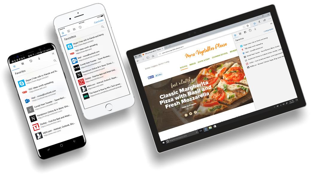 Celular iPhone e Android com as telas do Edge exibindo a funcionalidade de sincronização de dados