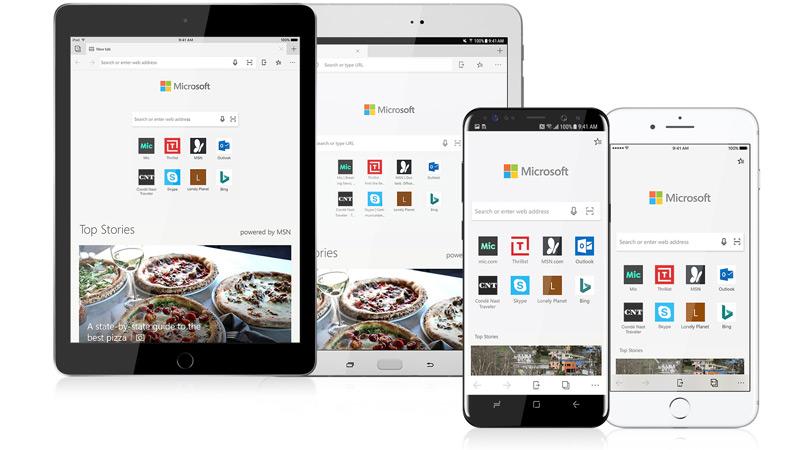 Imagens de tablets e telefones iOS e Android com o navegador Edge nas telas