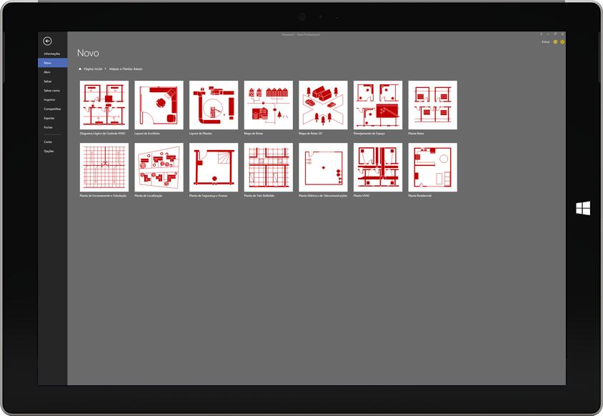 Um tablet Microsoft Surface exibindo uma lista de modelos de planta disponíveis no Visio