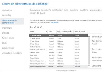 Um close-up da página de gerenciamento de conformidade no Centro de Administração do Exchange.